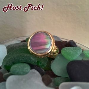 Antique 1930s Abalone Shell Shirt Stud 24K Ring